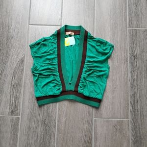 NWT Forever 21 Forest Green & Brown Crop Top